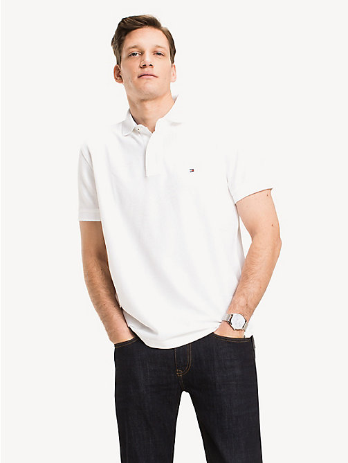 TOMMY HILFIGER Cotton Polo Shirt - BRIGHT WHITE - TOMMY HILFIGER Polo Shirts - main image