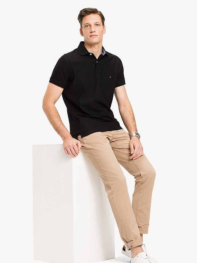 polo slim fit in cotone nero da uomo tommy hilfiger