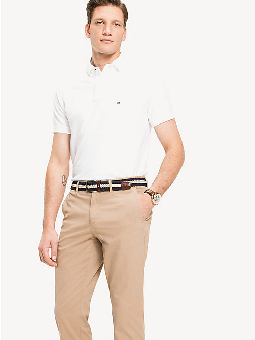 TOMMY HILFIGER Slim Fit Cotton Polo Shirt - BRIGHT WHITE - TOMMY HILFIGER Polo Shirts - main image