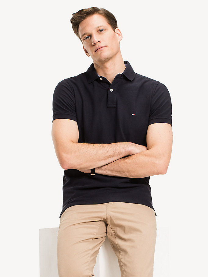 TOMMY HILFIGER Slim Fit Polo Shirt - FLAG BLACK - TOMMY HILFIGER Men - main image
