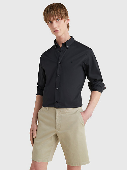 Cotton Poplin Slim Fit Shirt - FLAG BLACK - TOMMY HILFIGER Vêtements - image principale