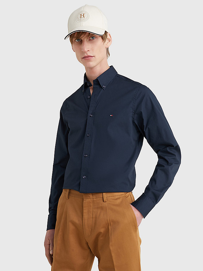 TOMMY HILFIGER Cotton Poplin Slim Fit Shirt - FLAG BLACK - TOMMY HILFIGER Clothing - main image