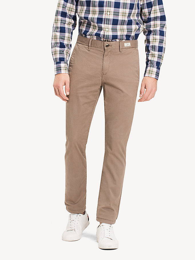 khaki organic stretch twill chinos for men tommy hilfiger