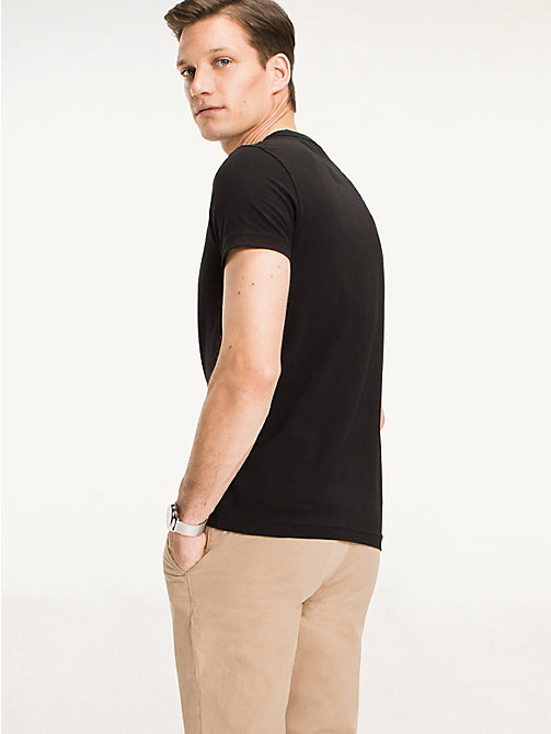 Slim fit T-shirt met stretch - FLAG BLACK -  Kleding - detail image 1