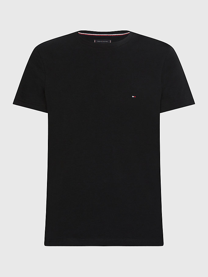 black stretch slim fit t-shirt for men tommy hilfiger
