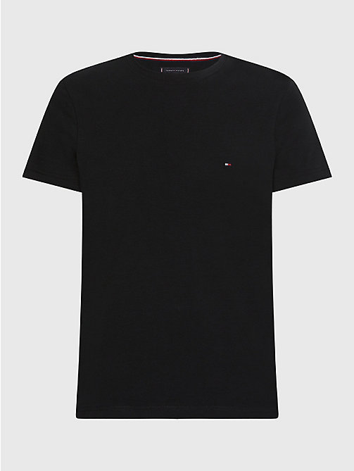 Slim fit T-shirt met stretch - FLAG BLACK - TOMMY HILFIGER Kleding - main image
