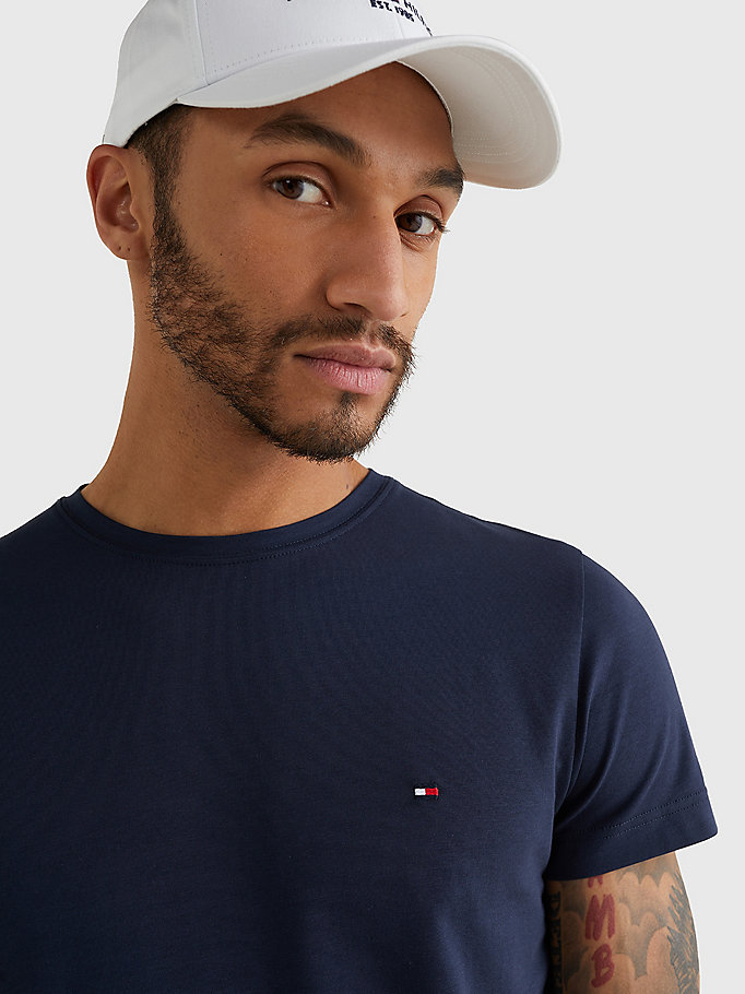 TOMMY HILFIGER Stretch Slim Fit T-Shirt - BRIGHT WHITE - TOMMY HILFIGER Clothing - detail image 2