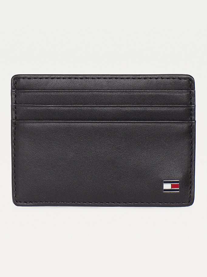black leather card holder for men tommy hilfiger