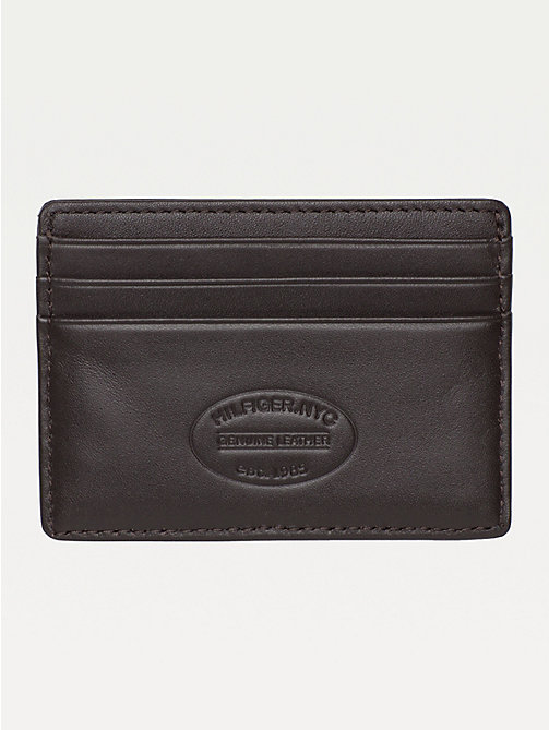 TOMMY HILFIGER Leather Card Holder - BROWN - TOMMY HILFIGER Wallets & Keyrings - detail image 1
