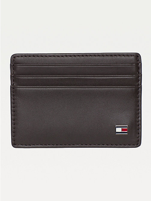 TOMMY HILFIGER Leather Card Holder - BROWN - TOMMY HILFIGER Wallets & Keyrings - main image