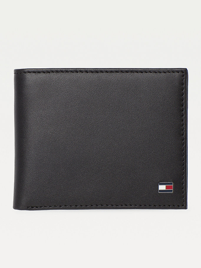 black small embossed bifold wallet for men tommy hilfiger