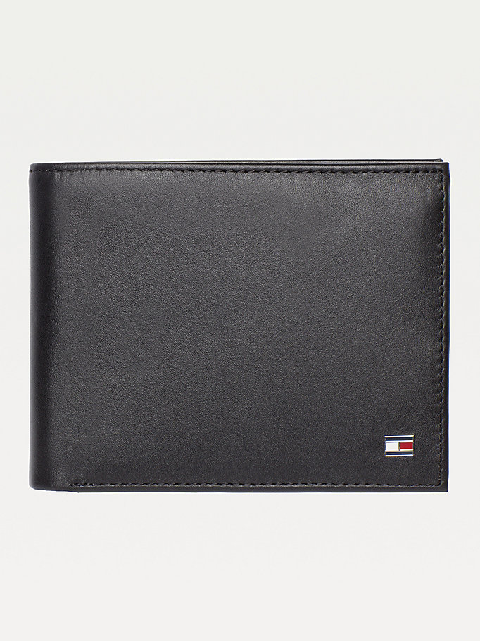 black signature stripe trifold wallet for men tommy hilfiger
