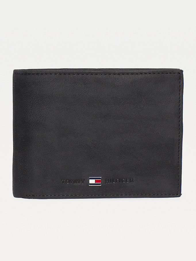 black leather flap wallet for men tommy hilfiger