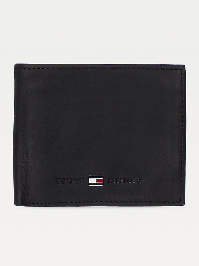 black small bifold card wallet for men tommy hilfiger