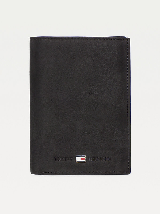 black portrait trifold wallet for men tommy hilfiger
