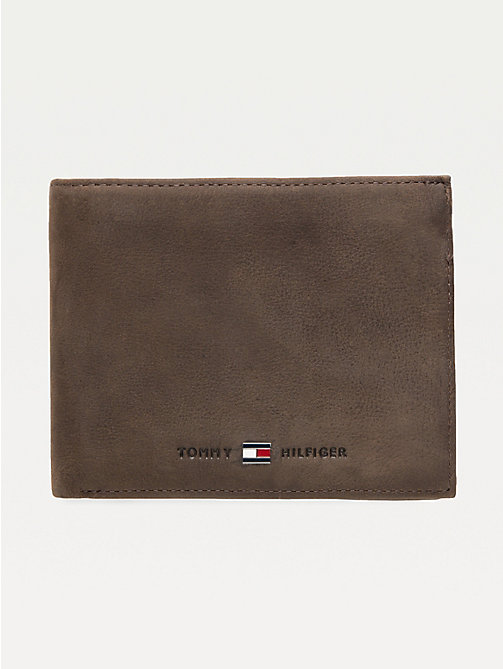 TOMMY HILFIGER Leather Trifold Wallet - BROWN - TOMMY HILFIGER Wallets & Keyrings - main image