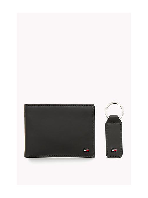 TOMMY HILFIGER Leather Flap Wallet and Keyring Gift Box - BLACK - TOMMY HILFIGER Bags & Accessories - detail image 1