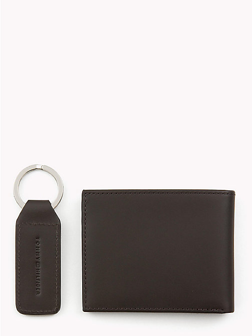 TOMMY HILFIGER Compact Leather Wallet and Key Fob Set - BROWN - TOMMY HILFIGER NEW IN - detail image 1