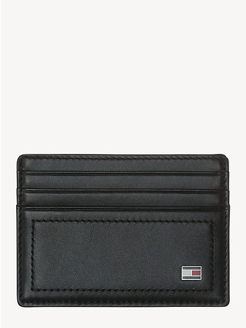 TOMMY HILFIGER Leather Card Holder - BLACK - TOMMY HILFIGER Wallets & Keyrings - main image