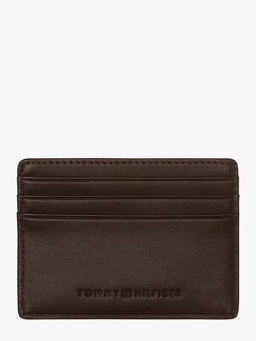 TOMMY HILFIGER Leather Card Holder - COFFEEBEAN - TOMMY HILFIGER Wallets & Keyrings - detail image 1