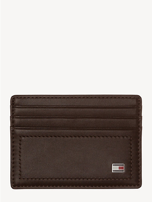 TOMMY HILFIGER Leather Card Holder - COFFEEBEAN - TOMMY HILFIGER Wallets & Keyrings - main image
