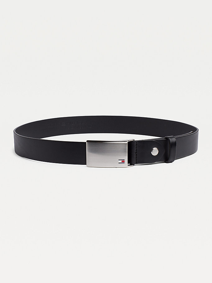 black adjustable logo plaque belt for men tommy hilfiger