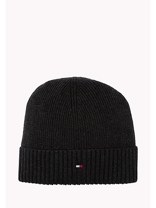 TOMMY HILFIGER Cotton Cashmere Beanie - CHARCOAL HTR - TOMMY HILFIGER Bags & Accessories - main image