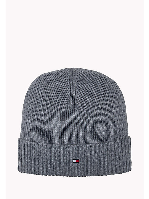 TOMMY HILFIGER Cotton Cashmere Beanie - MONUMENT HEATHER - TOMMY HILFIGER Bags & Accessories - main image