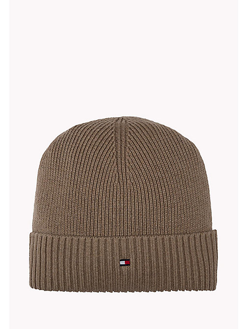 TOMMY HILFIGER Cotton Cashmere Beanie - FOSSIL HEATHER - TOMMY HILFIGER Bags & Accessories - main image