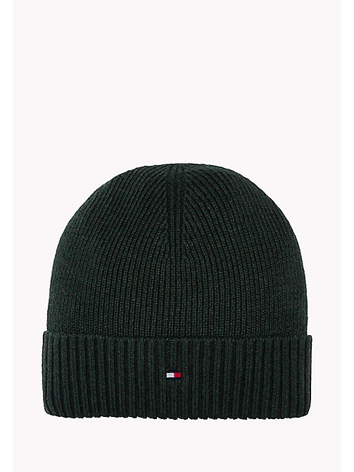 TOMMY HILFIGER Cotton Cashmere Beanie - DARKEST SPRUCE HEATHER - TOMMY HILFIGER Bags & Accessories - main image