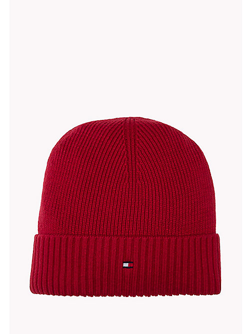 TOMMY HILFIGER Cotton Cashmere Beanie - HAUTE RED HEATHER - TOMMY HILFIGER Bags & Accessories - main image