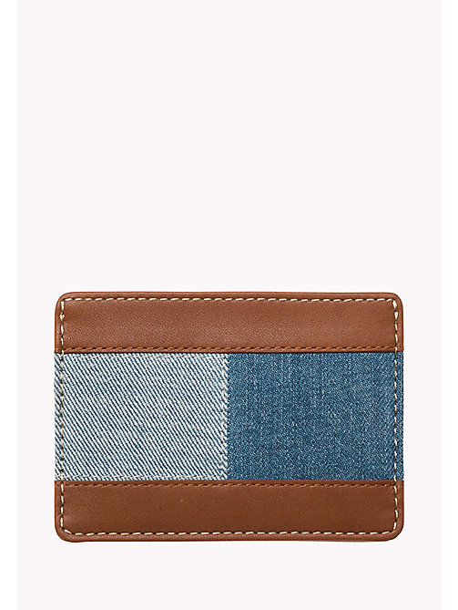 TOMMY HILFIGER Leather and Denim Cardholder - DENIM / COGNAC - TOMMY HILFIGER Bags & Accessories - detail image 1
