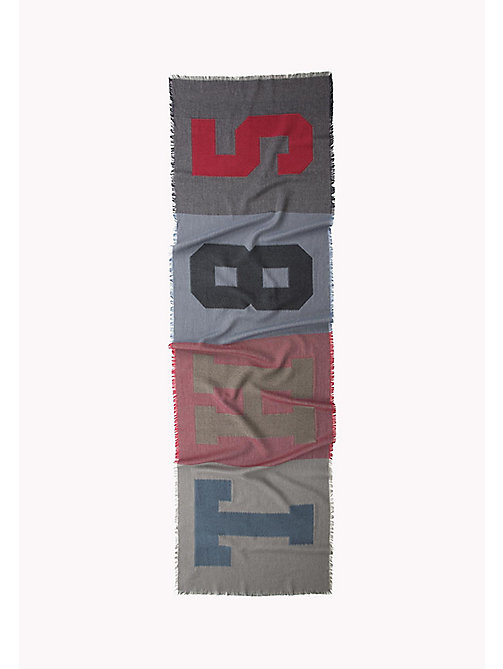 TOMMY HILFIGER Wool Blend Scarf - BLUES,RED&GREY MIX - TOMMY HILFIGER Bags & Accessories - detail image 1