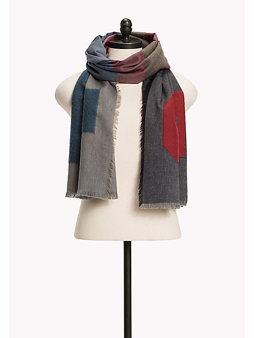 TOMMY HILFIGER Wool Blend Scarf - BLUES,RED&GREY MIX - TOMMY HILFIGER Bags & Accessories - main image