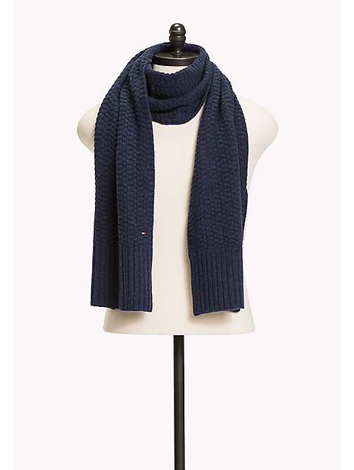 TOMMY HILFIGER Wool/Cashmere Blend Scarf - SKY CAPTAIN HEATHER - TOMMY HILFIGER Bags & Accessories - main image