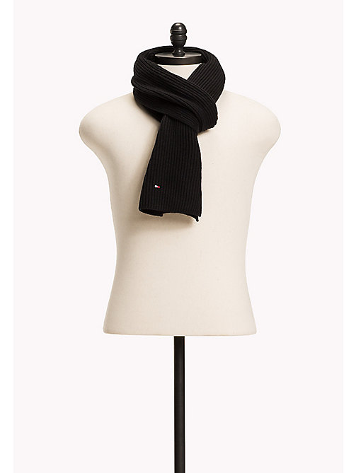 TOMMY HILFIGER Cotton Cashmere Scarf - BLACK - TOMMY HILFIGER Bags & Accessories - main image