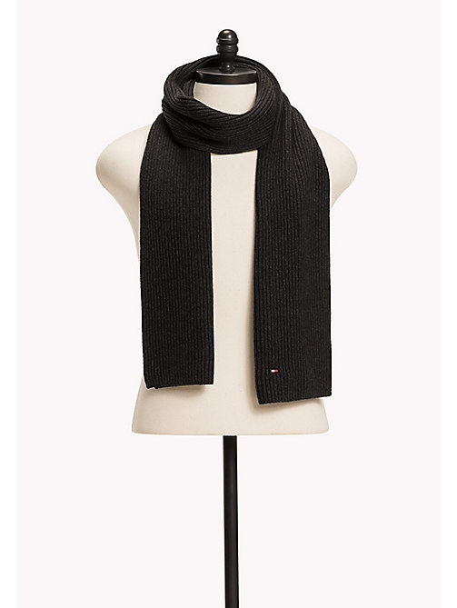 TOMMY HILFIGER Cotton Cashmere Scarf - CHARCOAL HTR - TOMMY HILFIGER Bags & Accessories - main image