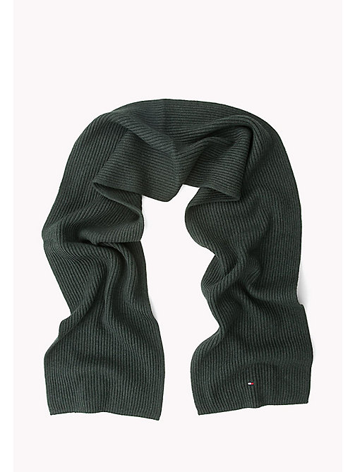 TOMMY HILFIGER Cotton Cashmere Scarf - DARKEST SPRUCE HEATHER - TOMMY HILFIGER Bags & Accessories - detail image 1