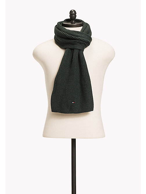 TOMMY HILFIGER Cotton Cashmere Scarf - DARKEST SPRUCE HEATHER - TOMMY HILFIGER Bags & Accessories - main image