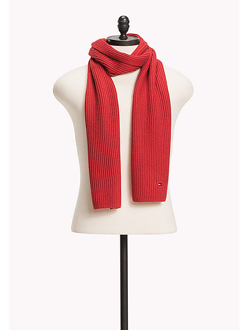 TOMMY HILFIGER Cotton Cashmere Scarf - HAUTE RED HEATHER - TOMMY HILFIGER Bags & Accessories - main image