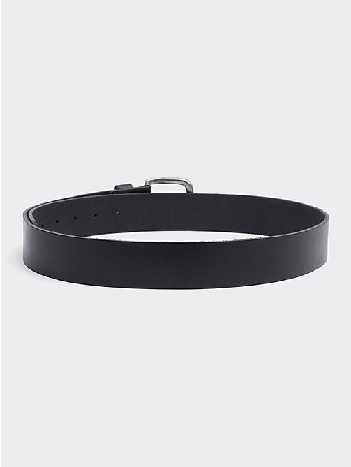 TOMMY JEANS Rounded Buckle Leather Belt - BLACK - TOMMY JEANS Belts - detail image 1