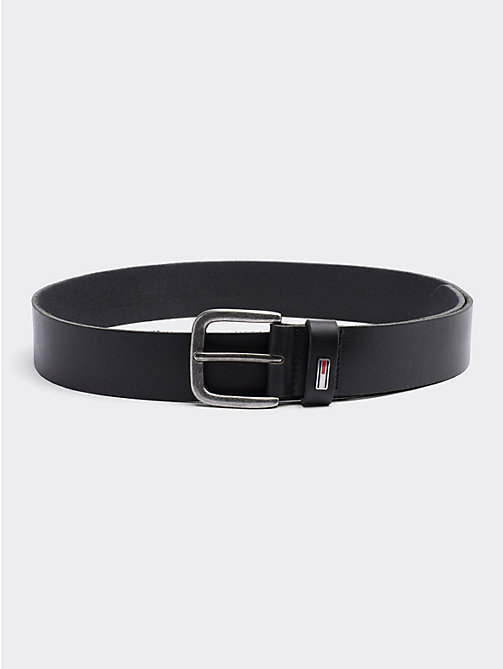 TOMMY JEANS Rounded Buckle Leather Belt - BLACK - TOMMY JEANS Belts - main image