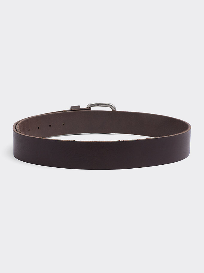 TOMMY JEANS Rounded Buckle Leather Belt - DARK TAN - TOMMY JEANS Men - detail image 1