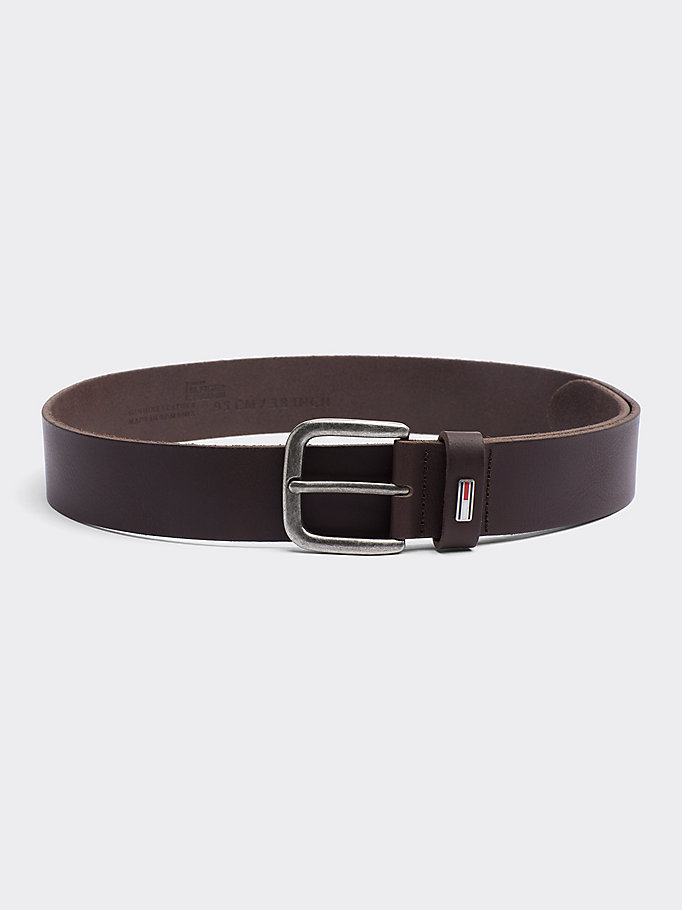 TOMMY JEANS Rounded Buckle Leather Belt - DARK TAN - TOMMY JEANS Men - main image