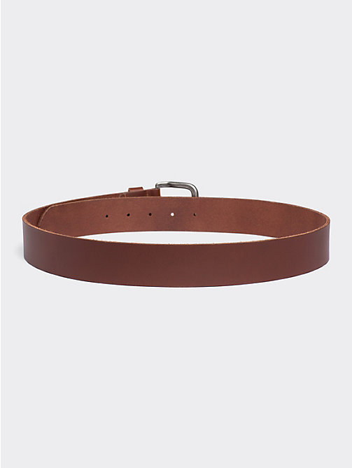TOMMY JEANS Rounded Buckle Leather Belt - DARK TAN - TOMMY JEANS Belts - detail image 1