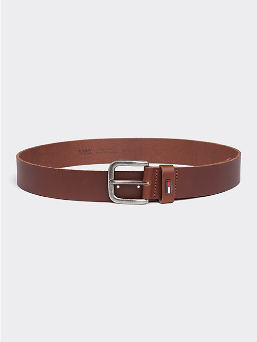 TOMMY JEANS Rounded Buckle Leather Belt - DARK TAN - TOMMY JEANS Belts - main image