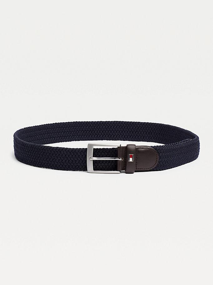 blue webbed belt for men tommy hilfiger