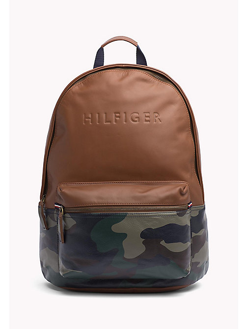 TOMMY HILFIGER Camo Leather Backpack - COGNAC / CAMO - TOMMY HILFIGER Bags - main image