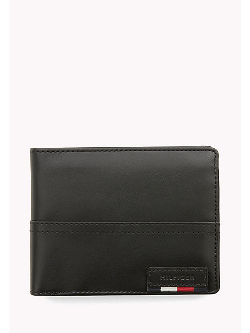 Leather Trifold Flap Wallet - BLACK - TOMMY HILFIGER Bags & Accessories - main image
