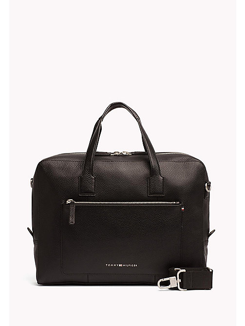 TOMMY HILFIGER Leather Computer Bag - BLACK - TOMMY HILFIGER NEW IN - main image